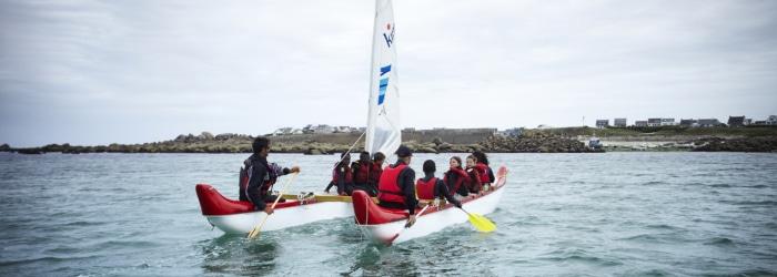 Balade nautique en pirogue polynésienne  à Plouescat