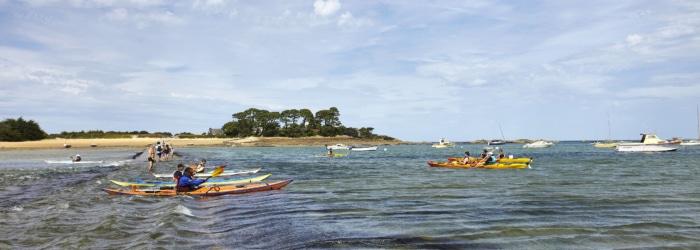 Visite de l'île Callot à Carantec en kayaks ou en stand up paddle à marée haute